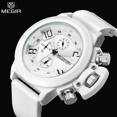 Megir Silicon Leather Strap Waterproof Big Dial Watches - Top Brand Luxury White - Necessities Australia