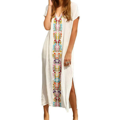 Long Boho White V Neck Embroidered Dress  - Placement Print, Split Side Maxi - Necessities Australia