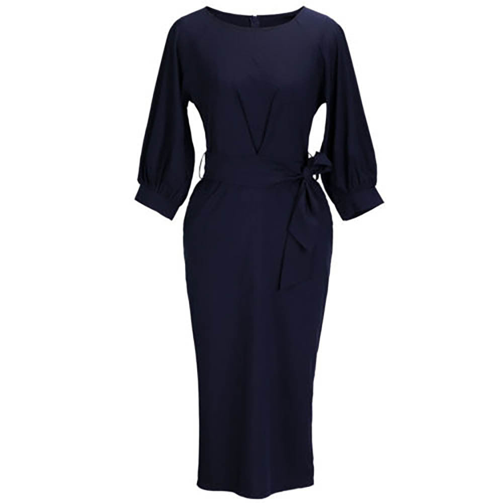 Lantern Sleeve O-Neck Pencil Dress-  Elegant Office, Solid Color Navy Blue - Necessities Australia