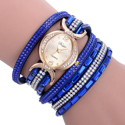 Blue Banded Diamond Circle Bracelet Watch - Necessities Australia