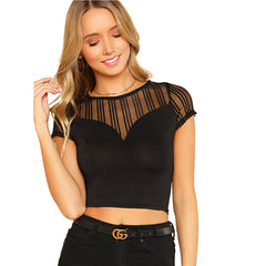 Striped Mesh Sweetheart Crop Tee - Black Round Neck  T-shirt - Necessities Australia