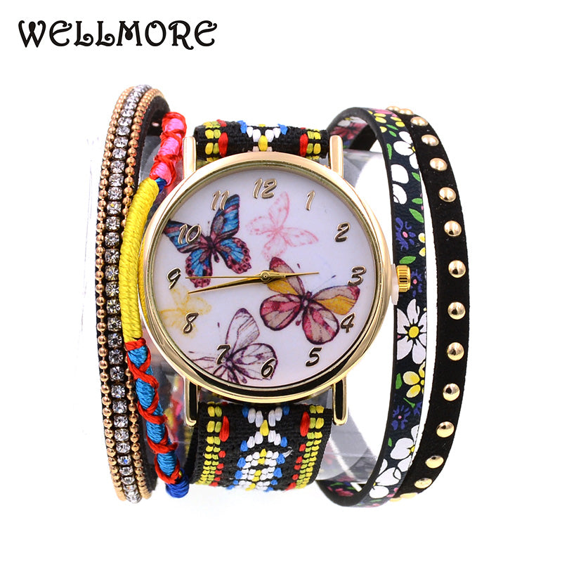 WELLMORE Leather Casual Butterfly Bracelet Watch