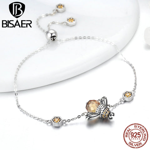 2018 Collection 100% 925 Sterling Silver Dancing Bees Chain Bracelet - Necessities Australia