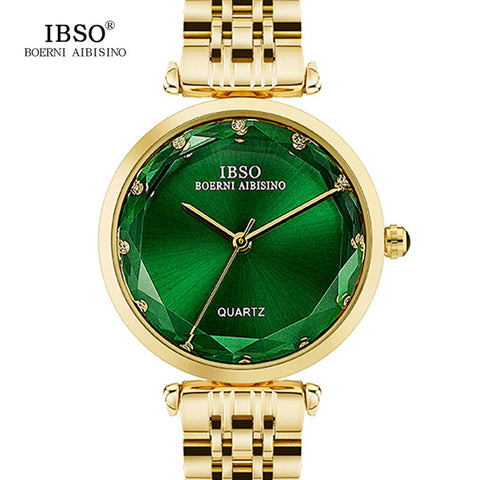 Gold Stainless Steel Wristwatch with Green Face - Necessities Australia