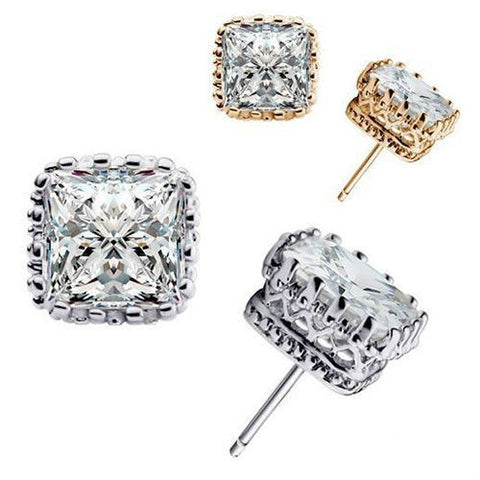 Stunning Vogue Party Square Crown Hollow Zircon Stud Earrings
