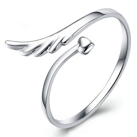 925 Silver Elegant  Angel Wing Heart  Ring - Necessities Australia