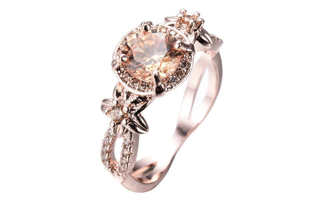 Filled Round Champagne Topaz Ring