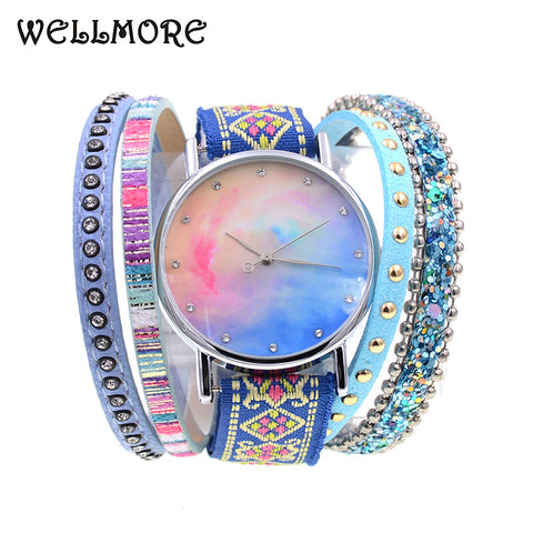 Leather Casual Colourful Nebula Design Bracelet Watch - Necessities Australia