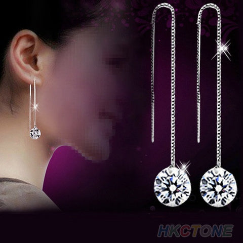 925 Sterling Silver Zircon Topaz Drop Chain Earrings - Necessities Australia