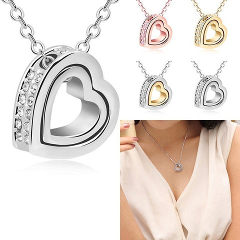 Double Layer Crystal Heart Pendant Necklace