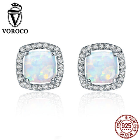 925 Silver Sterling Opal Earrings - Square Stud - Necessities Australia