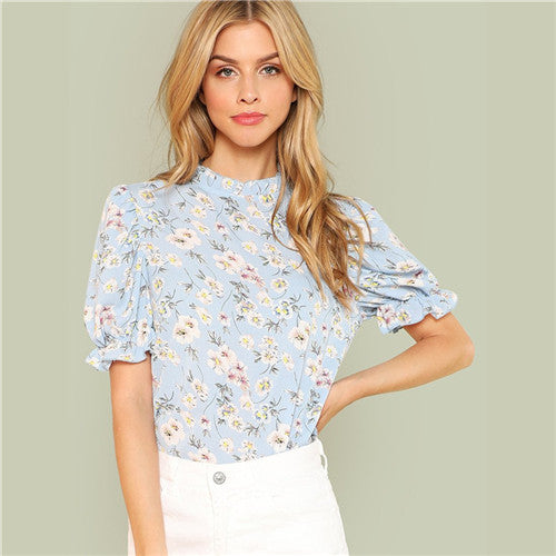 Office Lady Ruffle Floral Blue Calico Print Blouse - Casual Short Puff Sleeve, Frill Trim