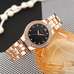 Stainless Steel Crystal Gold Bracelet Watch - Necessities Australia