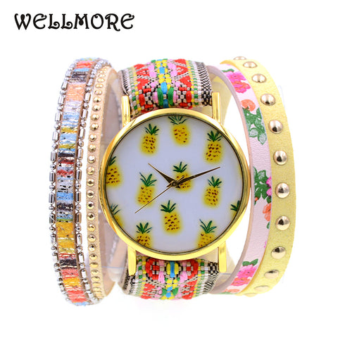 Leather Casual Pineapple Design Bracelet Watch - Necessities Australia