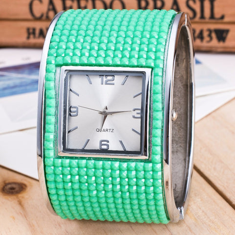 2018 Rhinstone Green Square Bracelet Watch - Ladies Dress Quartz Wristwatches - Necessities Australia