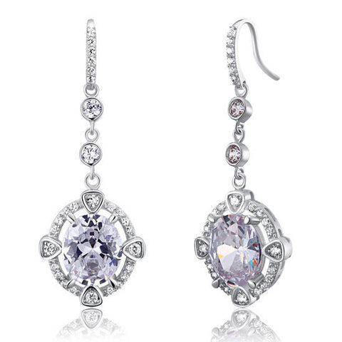5 Carat Oval Sterling 925 Silver Bridal Wedding Earrings - Necessities Australia
