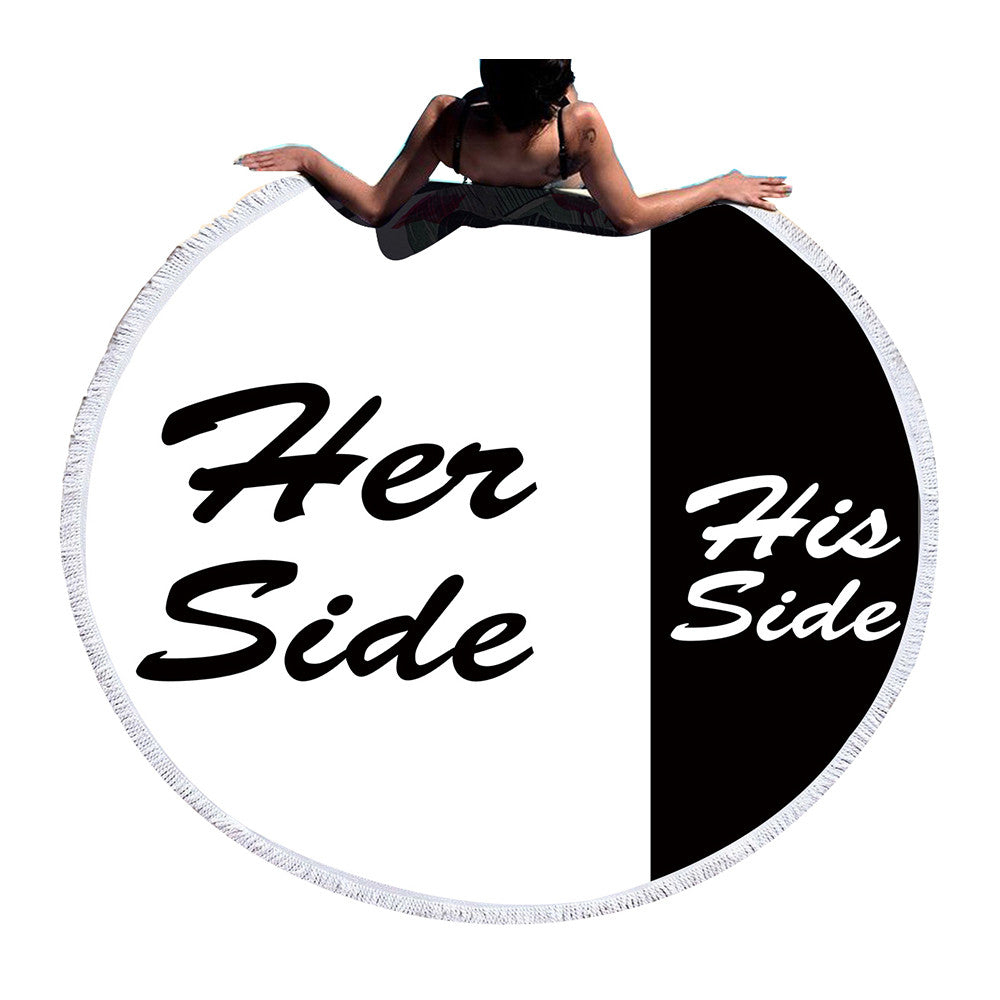Large Round Beach Towel - His & Her Side