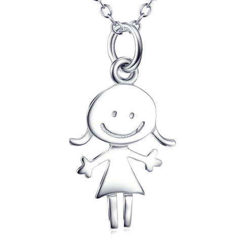 "S925 Sterling Silver ""Girl Smiling"" Shape Pendant/Necklace"