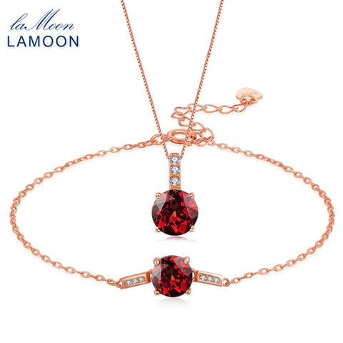 925 Sterling Silver Rose Gold & Natural Red Garnet Necklace + Bracelet Set - Necessities Australia