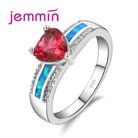 925 Sterling Silver Triangle Red Crystal Blue Fire Opal & Cubic Zirconia Ring - Necessities Australia