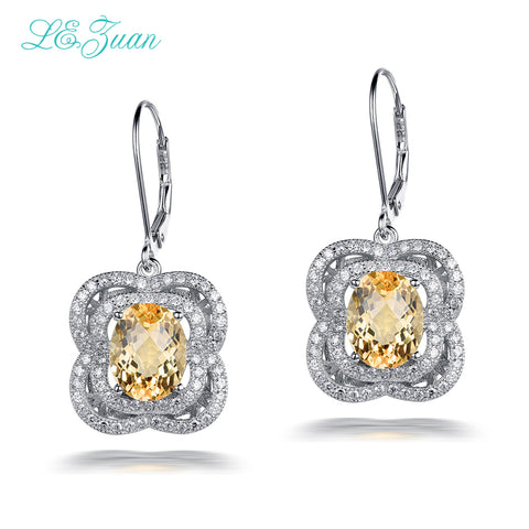 925 Sterling Silver 4.92ct Natural Citrine Drop Earrings - Necessities Australia