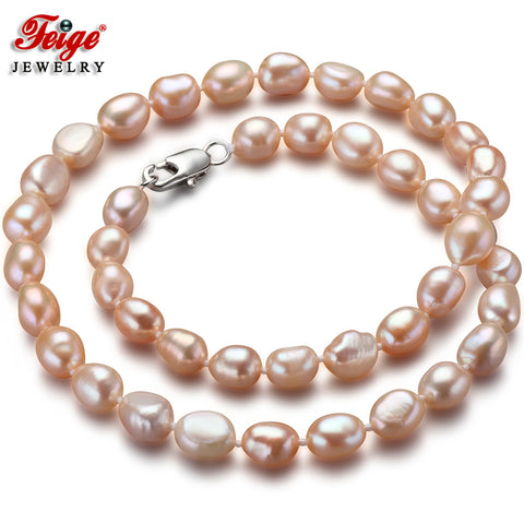 Classic Natural Pink Baroque Freshwater Pearl Necklace - Necessities Australia