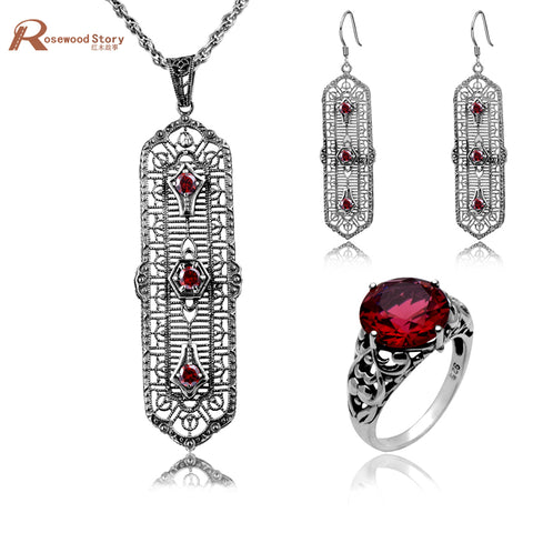 925 Silver Sterling Vintage Red Crystal Pendant, Ring & Earring Set - Necessities Australia