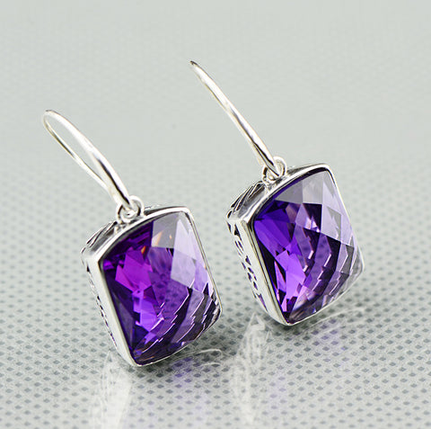 Geometric Amethyst Earrings - Silver Pendant Crystal
