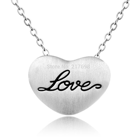 DORMITH 925 Sterling Silver Heart inlay L-O-V-E Pendant