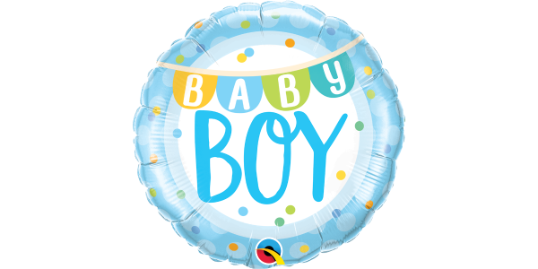 "18"" Foil Baby Boy Banner & Dots"