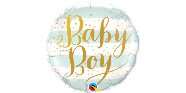 "18"" Foil Baby Boy Blue Stripes"