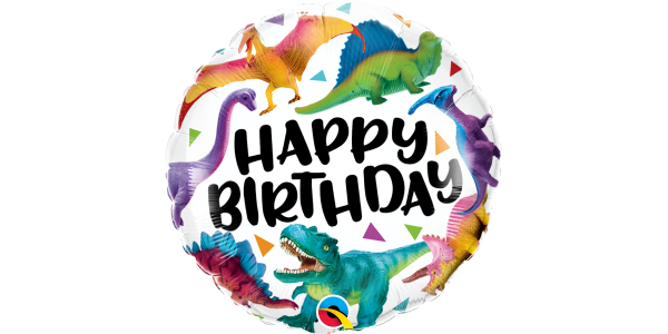 "18"" Foil Birthday Colorful Dinosaurs"