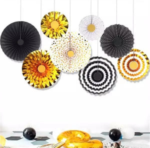 Gold and Black decorative fans