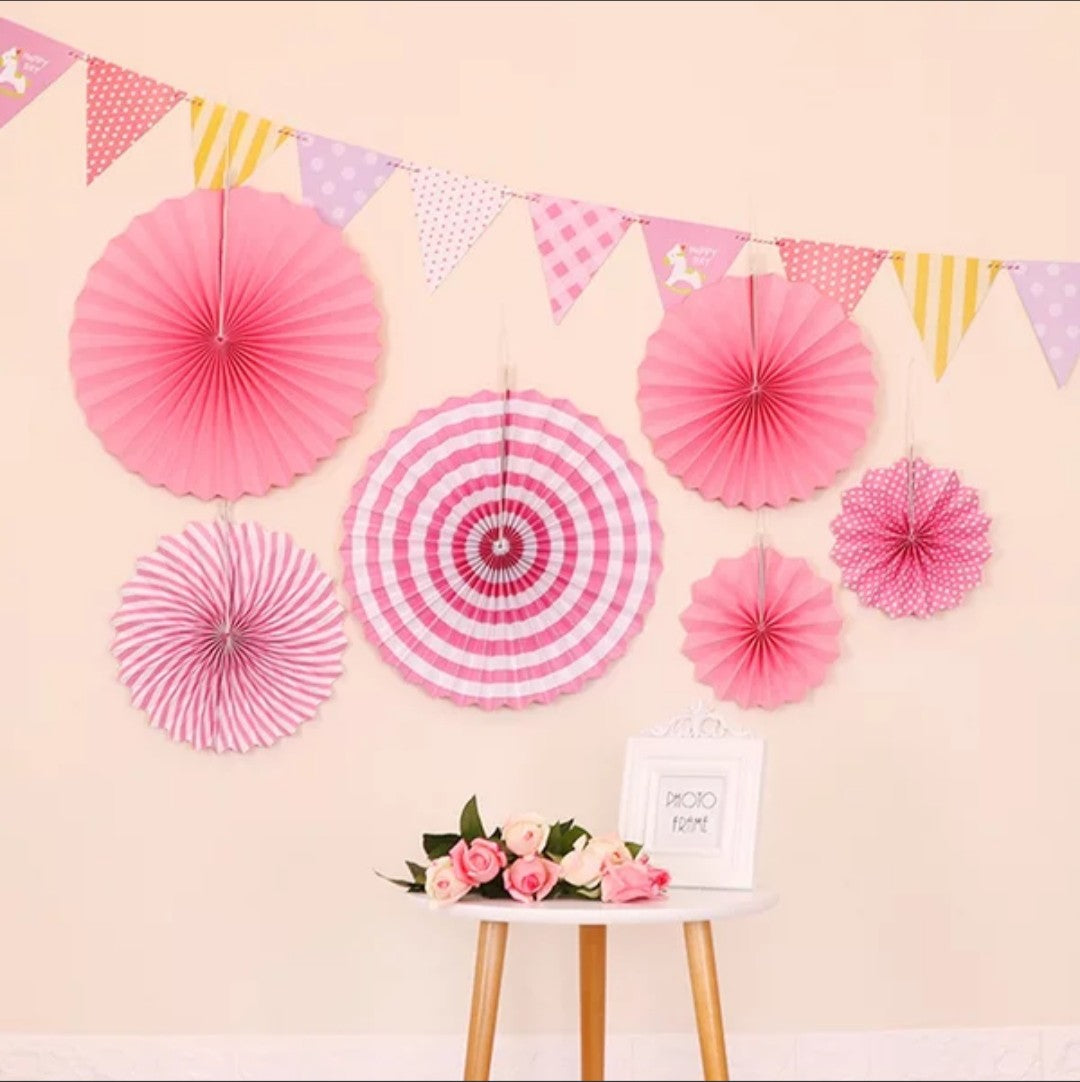 Pink decorative fans