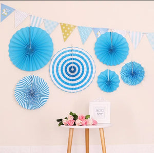 Blue decorative fans