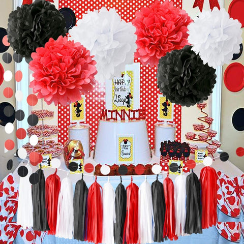 Red white and black party theme