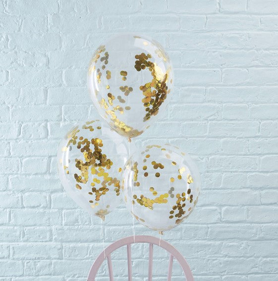 Gold confetti latex balloon