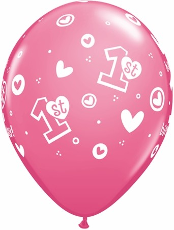 "11"" 1st Birthday Circle Hearts-Girl Rose"