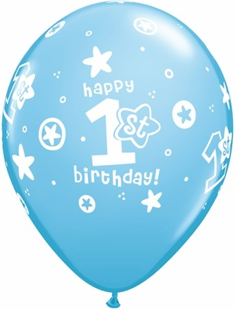 "11"" 1st Birthday Circle Stars-Boy Pale Blue"