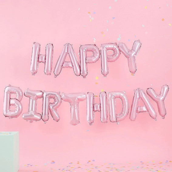 Pink HAPPY BIRTHDAY Letter foil