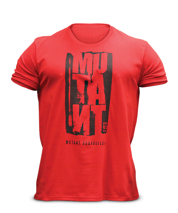 MUTANT Legacy Staggered Wordmark Red Tee - Front