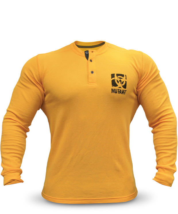 Classic Yellow Thermal Henley Sweater