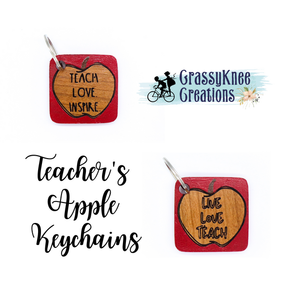 Teacher's Apple Keychains