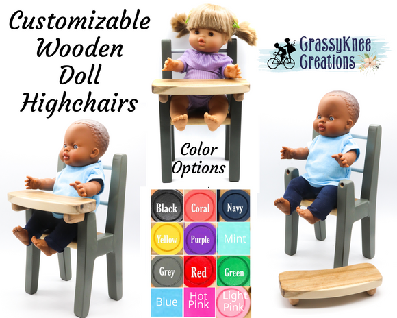 Wooden Doll Highchair