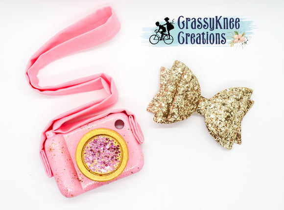 Glam Pink and Gold Glitter Camera
