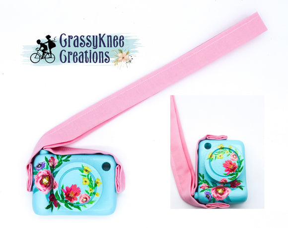 Hand Painted Blue Floral Camera