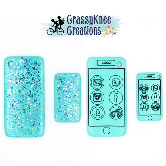 Dolly and Me Light Turquoise Cascade Glitter Smartphones