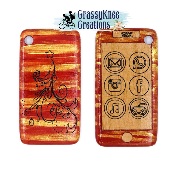 Red and Gold Christmas Tree Smartphone