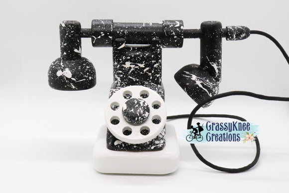 Monochrome Splatter Paint Antique Phone