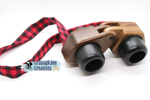 Buffalo Plaid Walnut Binoculars